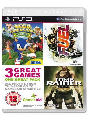 A PS3 game box set has been released in the UK by charity Games Aid, the compilation consists of three games namely SEGA Superstars Tennis, Fuel and Tomb ...
