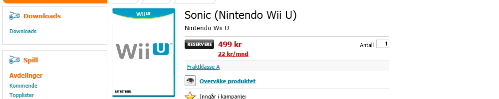 "Update: Norwegian Retailer Lists ""Sonic Wii-U"""