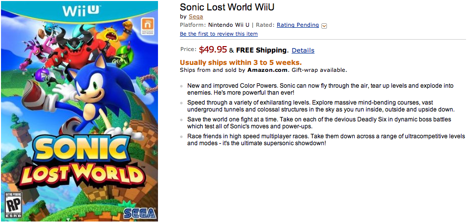 Sonic Lost World Wii U 3ds Prices Set On Amazon The Sonic Stadium