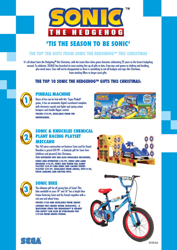the pinball game will be just under 15 and available from the entertainer the bike is 120 and from argos also a sonic crash helmet can be purchased for - Sonic Christmas Hours