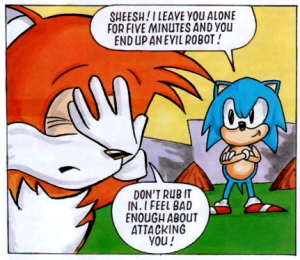 This is Sonic two issues before he went full pixel brain. This is also issue two.