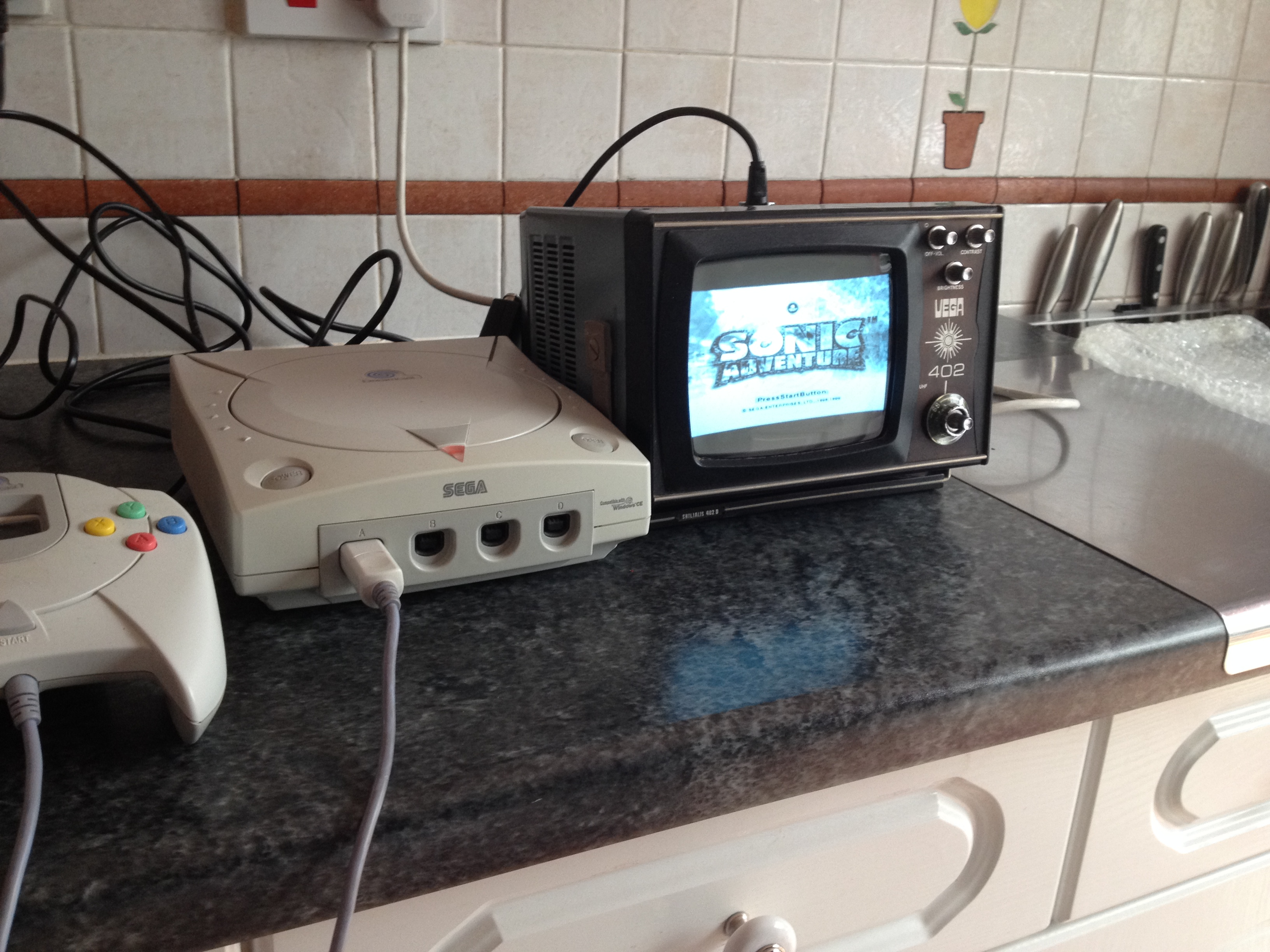 Pointlessly cool thing of the day: Sonic Adventure on a USSR 1970s Portable TV!