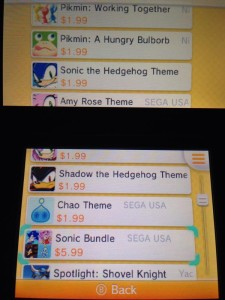 4 new Sonic themes now out for 3DS in NA for $2 each, get all for $6!