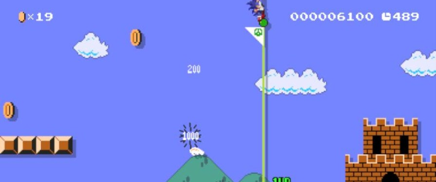 First footage of Sonic in Super Mario Maker