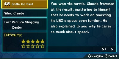 "LBX: Little Battlers eXperience on 3DS has a mission called ""Gotta Go Fast"""