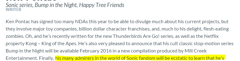 Update: Ken Pontac To Write the Next Sonic Game?