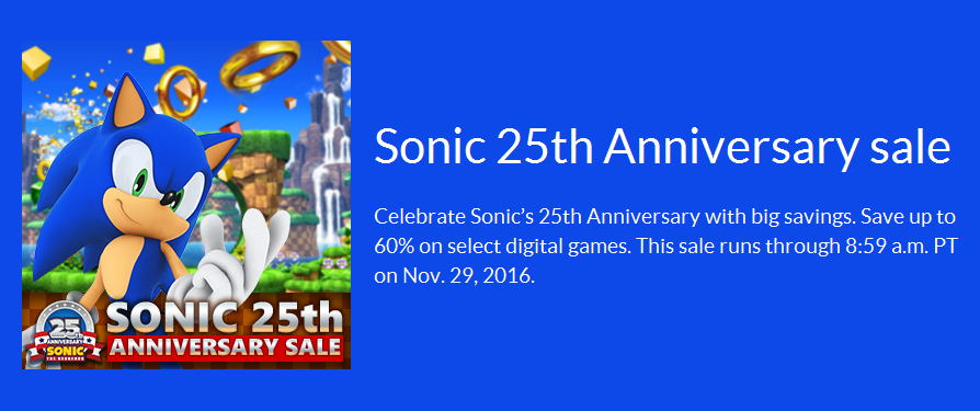 Many Sonic games on sale on the NA 3DS and Wii U eShop until Nov 29th