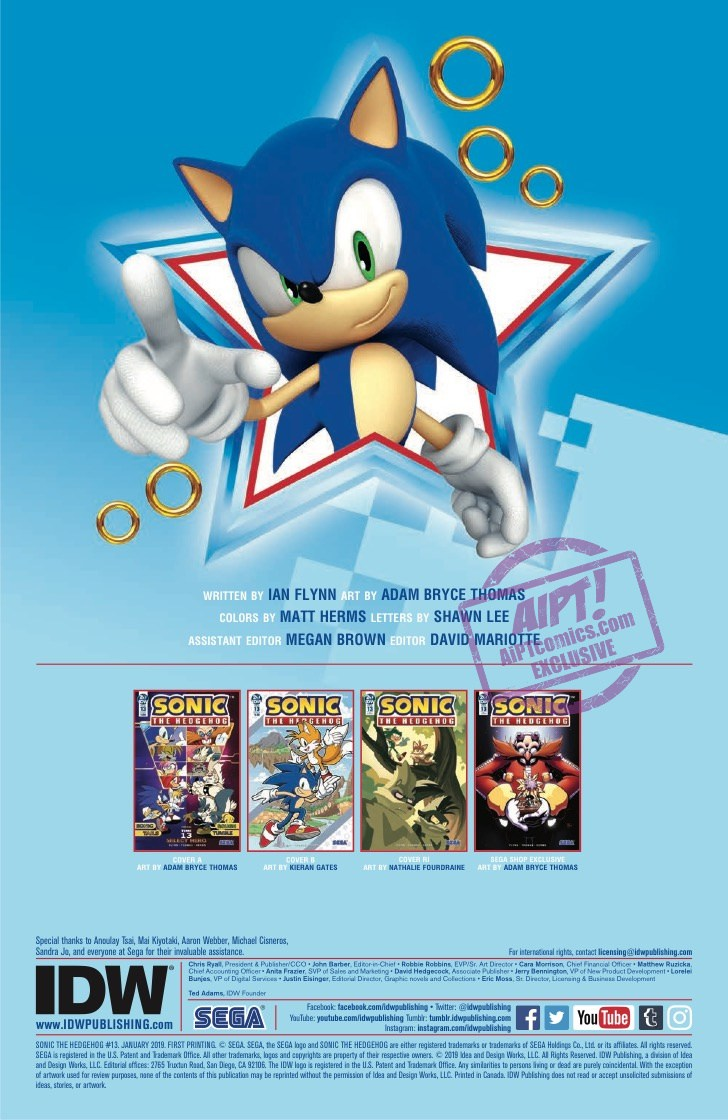 Comic Preview Idw Sonic The Hedgehog 13 The Sonic Stadium