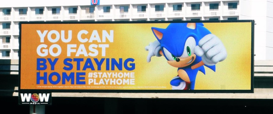 "Sonic Says ""Stay Home"" in New Billboard"