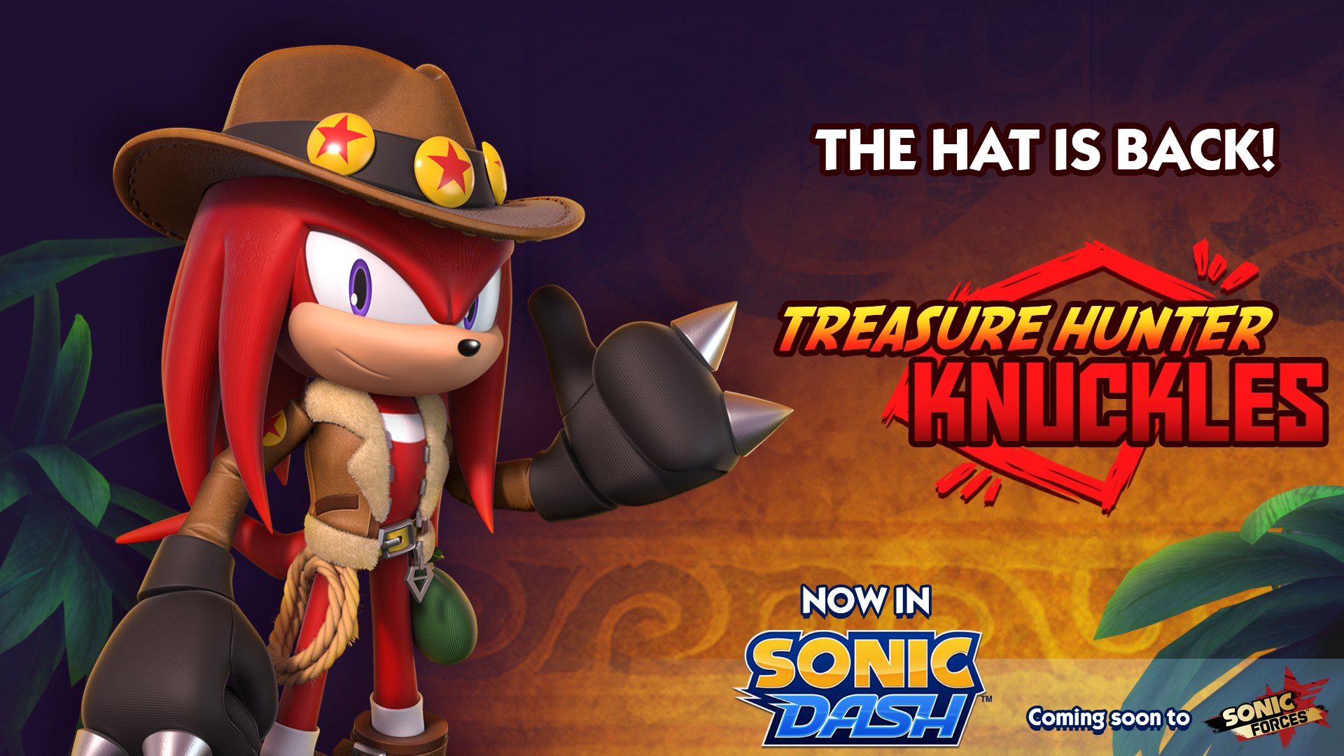 My Hat S On Fire Treasure Hunter Knuckles Arrives As New Sonic Dash Collectible Character The Sonic Stadium